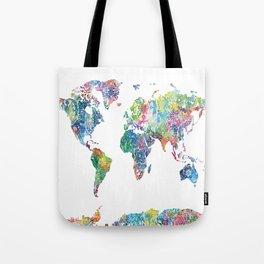 world map mandala watercolor white Tote Bag
