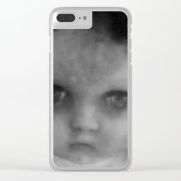 Creepy doll face Clear iPhone Case