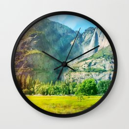 Yosemite Valley Waterfall Wall Clock