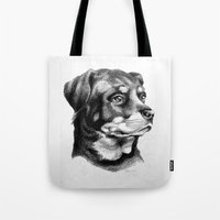 rottweiler Tote Bags featuring Rottweiler Devotion by Patricia Howitt