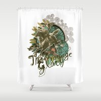 voyage Shower Curtains featuring VOYAGE by TOO MANY GRAPHIX
