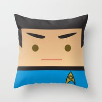 spock Throw Pillows featuring SPOCK by Sam Del Valle