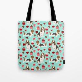 Basset Hound valentines day cute gifts for dog lover pet portrait dog breed custom illustration Tote Bag