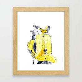 Yellow Vespa 50s Framed Art Print