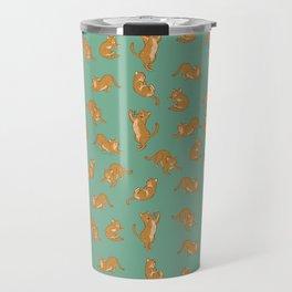 Orange Tabby Tiling Pattern Travel Mug