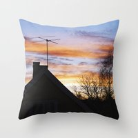 swedish Throw Pillows featuring Swedish Sunset by Matthew Phillips