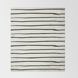 Horizontal Ivory Stripes II Throw Blanket