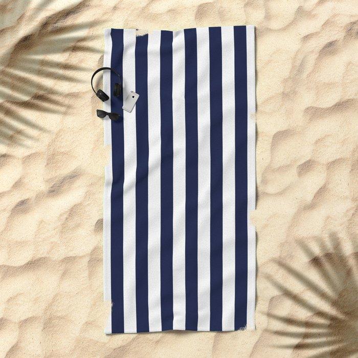 Maritime pattern- darkblue stripes on clear white- vertical Beach Towel