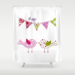 Pink Birds with party flags Shower Curtain