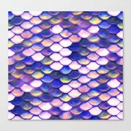 Rose Purple Mermaid Scale Pattern Canvas Print