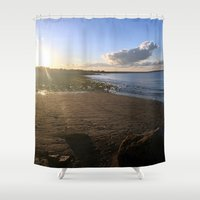 cape cod Shower Curtains featuring Cape Cod  by Plush Deesigns