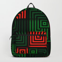 Red and green tiles with op art squares and corners Backpack