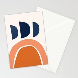 Abstract Shapes 22 in Burnt Orange and Navy Blue Stationery Cards