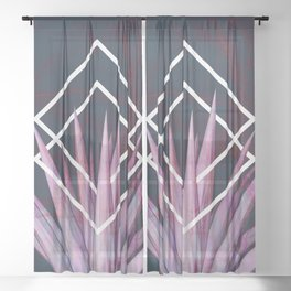 Tropical Desire at Night  #tropical #foliage #geometry Sheer Curtain