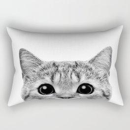 Cat Peeking Up Rectangular Pillow