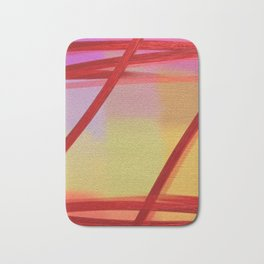 Pastel Red Transparent Abstract Bath Mat