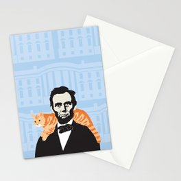 Abe Lincoln the first president to bring a cat to the White House Stationery Cards