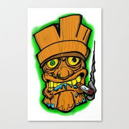 Cocktail Weenie and the Tiki Hut Canvas Print