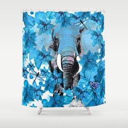 ELEPHANT Blue and White Flowers Blue Atoll Shower Curtain