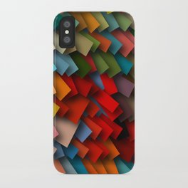 colorful rectangles with shadows iPhone Case