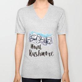 Mount Rushmore watercolor Unisex V-Neck