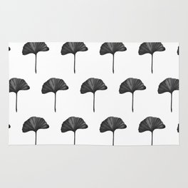 Black Ginko Leaf - Minimalist Nature Rug