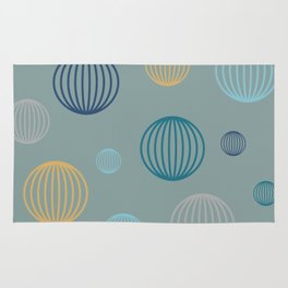 Striped pastel bubbles on teal Rug