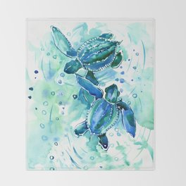 Turquoise Blue Sea Turtles in Ocean Throw Blanket