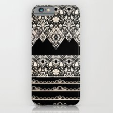 Seamless lace lacy washi tapes ribbon pattern on black background texture iPhone 6s Slim Case