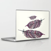 feathers Laptop & iPad Skins featuring FEATHERS by Monika Strigel