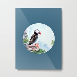Puffin sitting on a rock with a blue background Metal Print