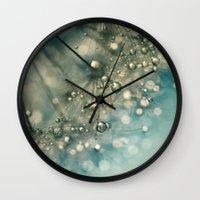 sparkles Wall Clocks featuring Indigo Sparkles by Sharon Johnstone