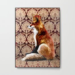 The Fox King - Mughal Textile Metal Print