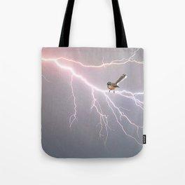 Bird on lightning bolt - Fantail Tote Bag