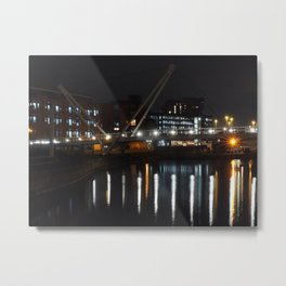 River Aire -  Leeds at night Metal Print