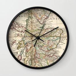 Vintage Map of Scotland (1718) Wall Clock