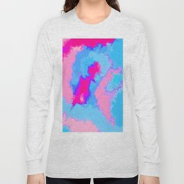 Girly Pink and Blue Abstract Digitized Watercolor Long Sleeve T-shirt
