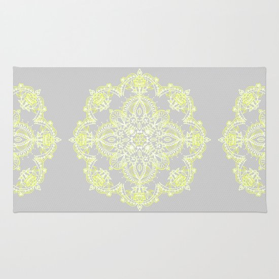 Pale Lemon Yellow Lace Mandala On Grey Rug By Micklyn