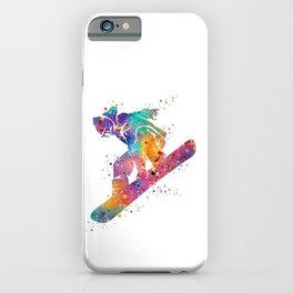 Girl Snowboarding Colorful Watercolor Winter Artwork iPhone Case