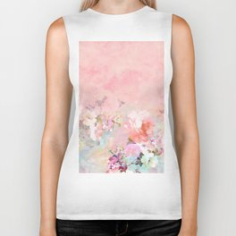 Modern blush watercolor ombre floral watercolor pattern Biker Tank