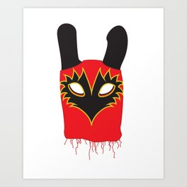 Luchador Rabbit Red Art Print