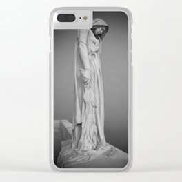 Statue in the mist Clear iPhone Case
