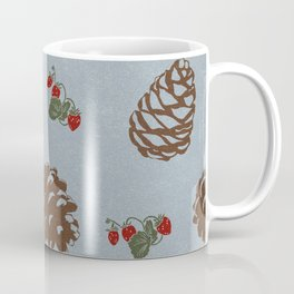 pinecones and forest berries pattern blue Coffee Mug