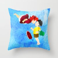ponyo Throw Pillows featuring Ponyo and Sosuke by foreverwars