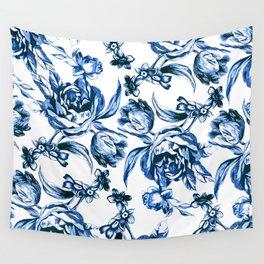 Bleu Fleurs Wall Tapestry