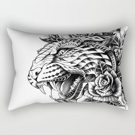 Ornate Leopard Black & White Variant Rectangular Pillow
