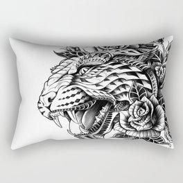 Ornate Leopard Black & White Variant Rectangular Pillow