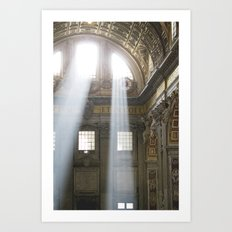 Sun rays in the Vatican, Italy Art Print