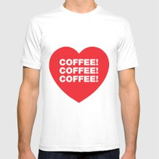 COFFEE! White MEDIUM Mens Fitted Tee