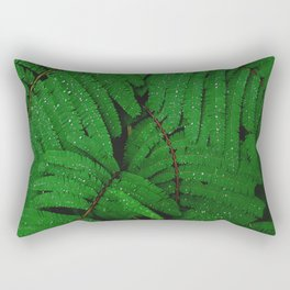 Layers Of Wet Green Fern Leaves Patterns In Nature Rectangular Pillow